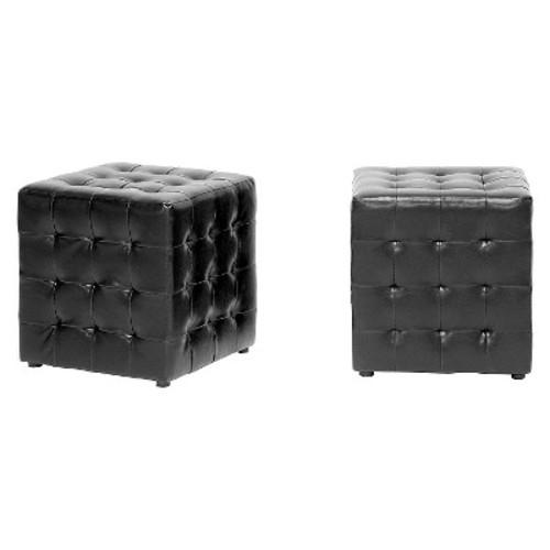 Baxton Studio Siskal Modern Cube Ottoman, Black, Set of 2 [Black]