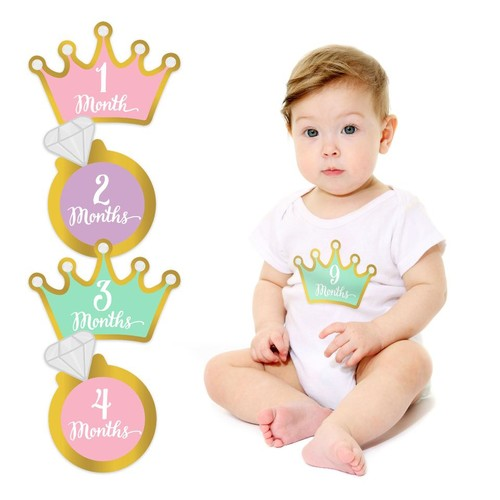 Pearhead Little Princess Crown Monthly Milestone Baby Belly Stickers