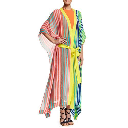 DIANE VON FURSTENBERG Striped Floor-Length Silk Dress, Yellow Green Orange Multi