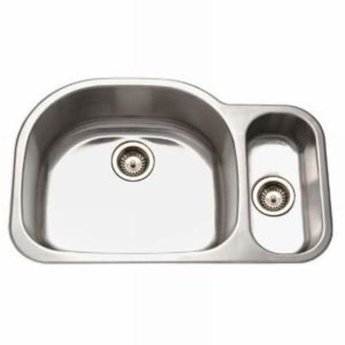 HOUZER Medallion Series Undermount Stainless Steel 32 in. Double Bowl Kitchen Sink