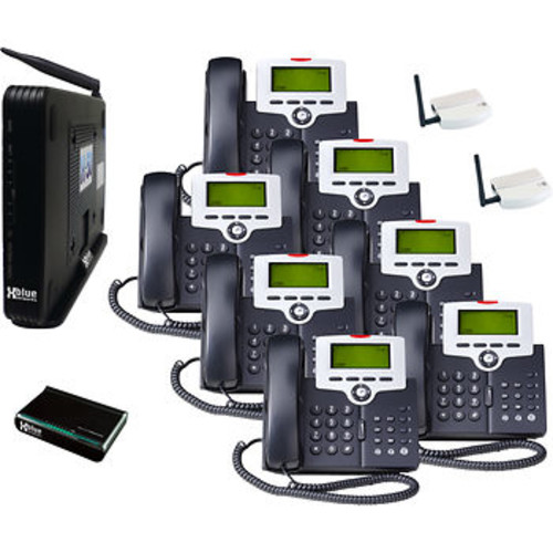 XBLUE X-50 VoIP Telephone System Bundle with 7 IP Phones with 2 Wi-Fi Adapters