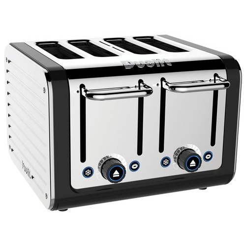 Dualit - Design Series 4-Slice Extra-Wide Slot Toaster - Black/Stainless Steel