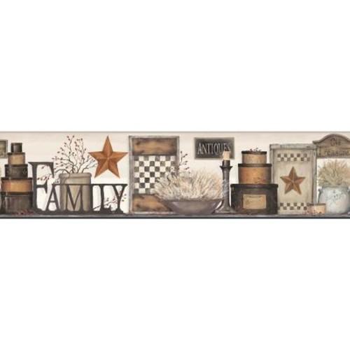York Wallcoverings Country Keepsakes Family Shelf 15' x 9'' Scenic Border Wallpaper