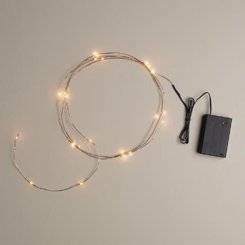Copper Micro LED 25-Bulb Battery Operated String Lights