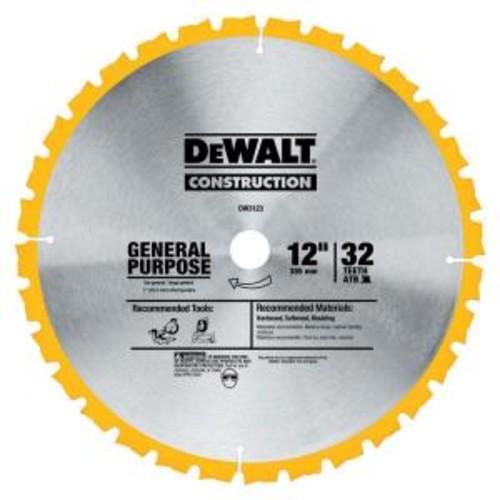 DEWALT Construction 12 in. 32-Teeth Thin Kerf Miter Slide Miter Blade