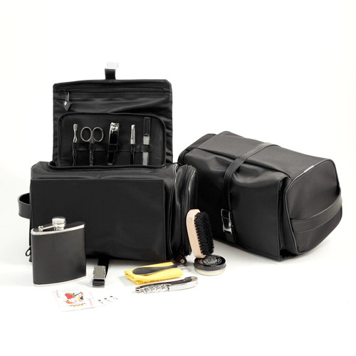 Black Leather & Nylon All In One Executive Tote Bag-13 Pieces