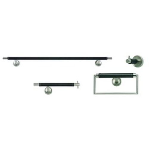 Stainless Steel/ Leather 4-piece Bathroom Accessory Set