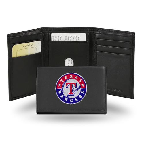 Rico Texas Rangers Men's Black Leather Tri-fold Wallet