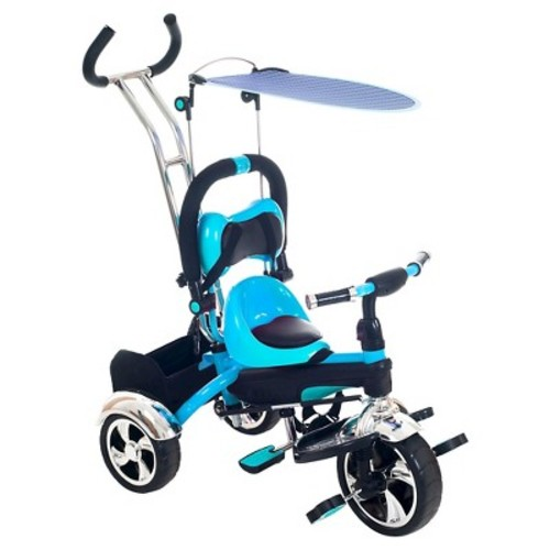Lil' Rider 2 in 1 Stroller Tricycle - Child Safe Trike Trainer - Blue