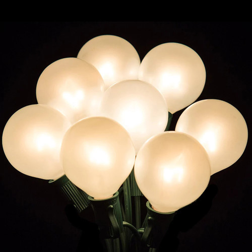 Set of 20 Clear White Opaque G50 Globe Party Wedding Christmas Lights - Green Wire
