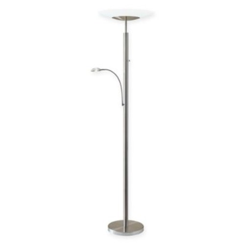 Adesso Stellar Brushed Steel Torchiere Floor Lamp with Reading Light