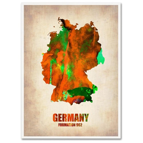Naxart 'Germany Watercolor Map' Canvas Wall Art 18 x 24