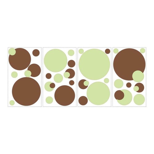 RoomMates RMK1408SCS Just Dots Green and Brown Peel & Stick Wall Decals, 31 Count