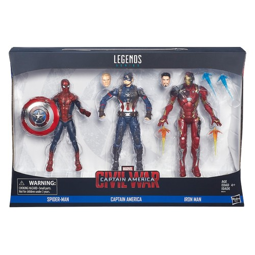 Marvel Civil War Captain America Legends Series 6 inch 3 Pack Action Figure - Spider-Man, Captain America and Iron Man