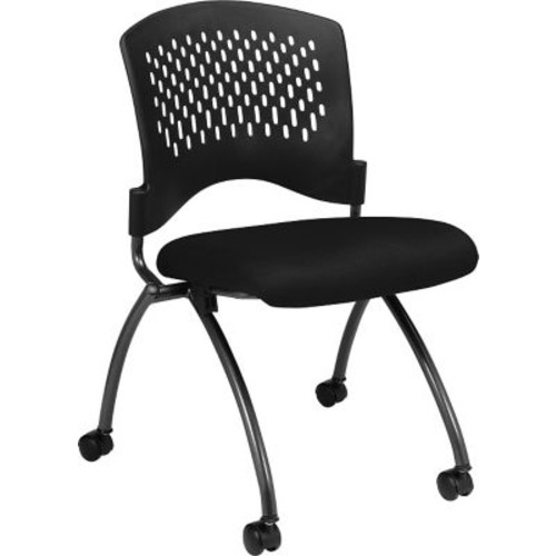 Office Star Proline II Fabric Deluxe Armless Folding Chair with Plastic Back, Black, 2/Pack