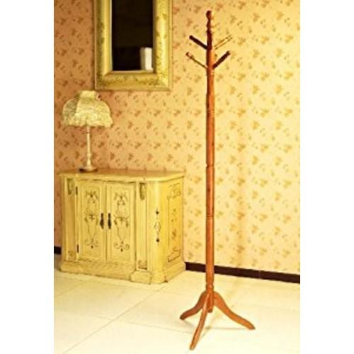 Frenchi Furniture Wood Coat/Hat Rack Stand in Oak Finish [Oak]