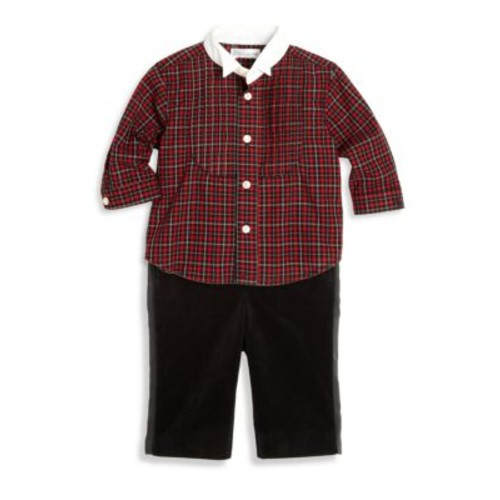 Baby's Two-Piece Plaid Tuxedo Shirt & Velvet Pants Set