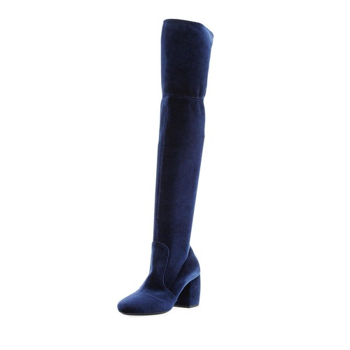 PRADA Stretch-Velvet Knee Boot
