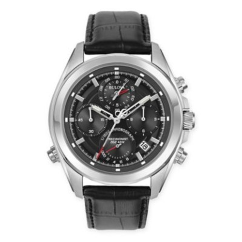 Bulova Precisionist Men's 44.5mm Chronograph Watch in Stainless Steel w/Black Leather Strap