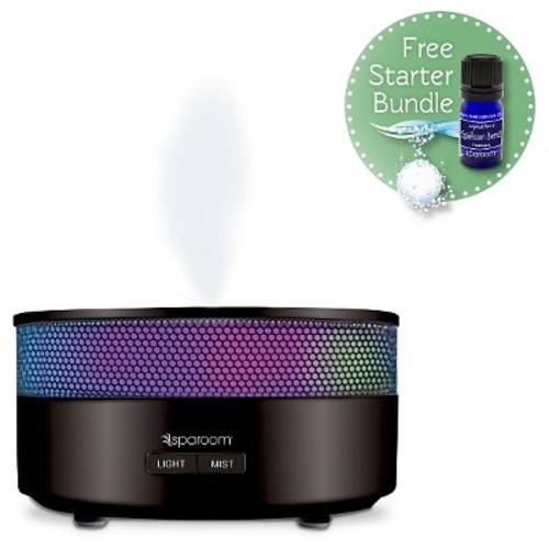 SpaRoom Aroma Mist Oil Diffuser - Black (includes free Essential Oil and Klenzor Diffuser Cleansing Capsules)