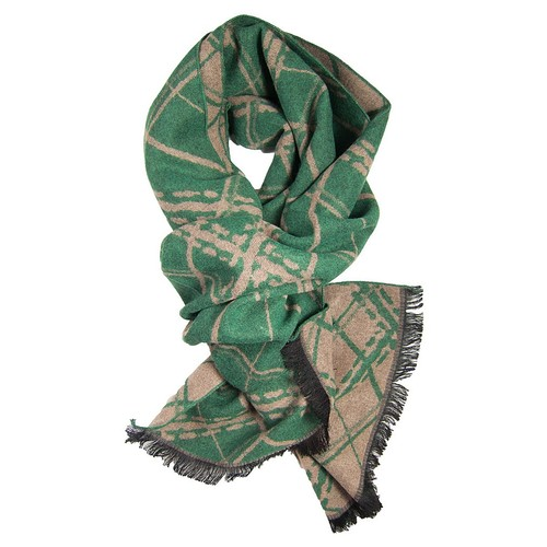 Green & Khaki Diamonds Scarf