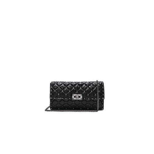 Valentino Quilted Rockstud Spike Shoulder Bag in Black