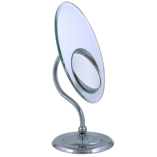 Zadro Tri-optics Oval Pedestal Vanity Mirror w/ Built-in Spot Mirror