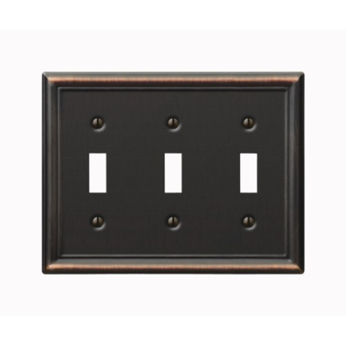 Amerelle 3 Toggle Aged Bronze Chelsea Wall Plate (149TTTDB)