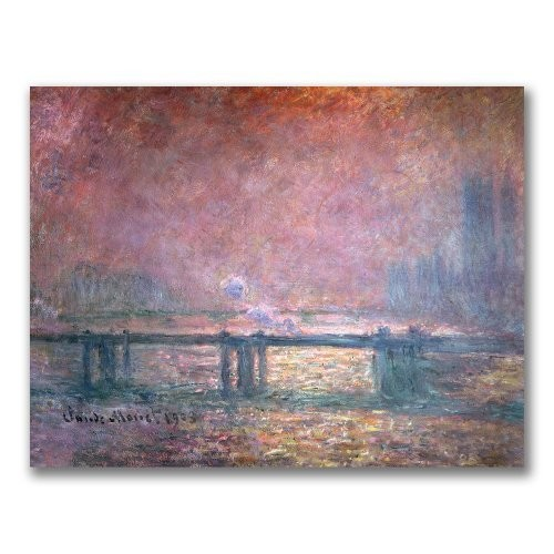 The Thames at Charing Cross by Claude Monet, 18x24-Inch Canvas Wall Art [18 by 24-Inch]
