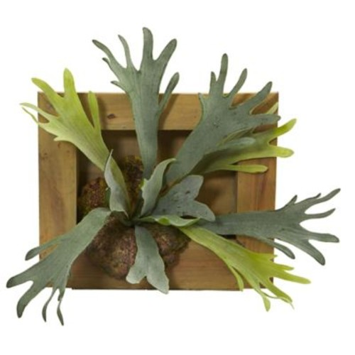 Nearly Natural Staghorn Artificial Plant with Wood Hanging Frame