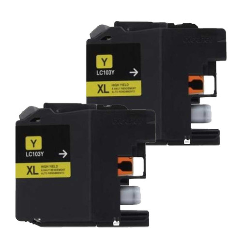 Brother LC103 Yellow Compatible Ink Cartridge (Remanufactured) (Pack of 2)