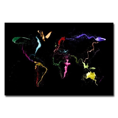World Map - Thrown Paint by Michael Tompsett, 16x24-Inch Canvas Wall Art [16 by 24-Inch]