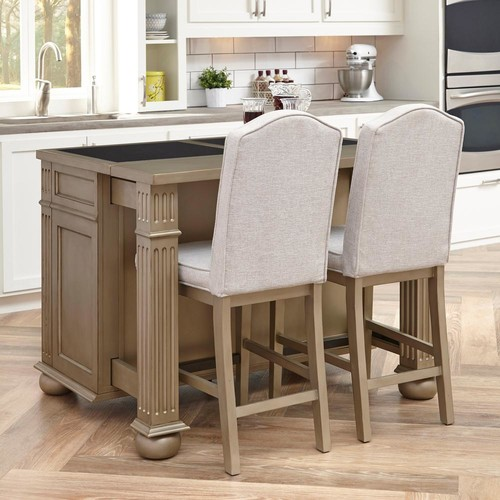 Home Styles Visions 24 in. Silver Gold Champagne Cushioned Bar Stool