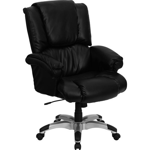 Flash Furniture High Back Black Leather OverStuffed Executive Swivel Chair with Fully Upholstered Arms [Black]