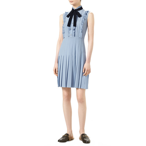 GUCCI Sleeveless Pleated Dress, Dusty Blue