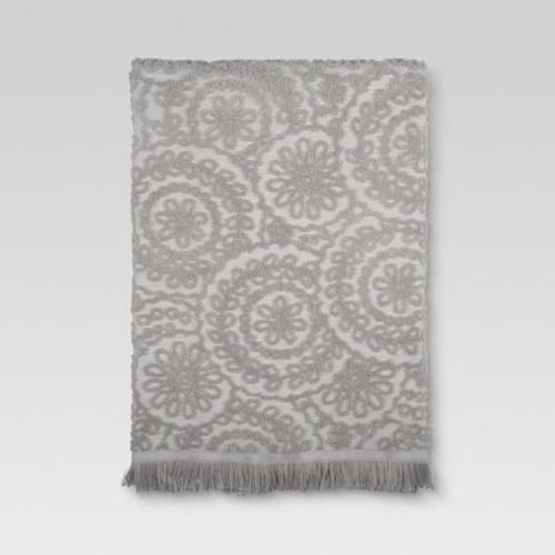 Medallion Fringe Bath Towels Gray - Threshold