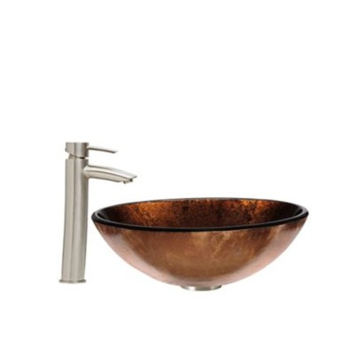 Vigo Russet Glass Vessel Sink and Shadow Faucet Set in Brushed Nickel