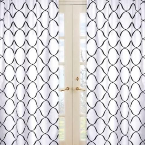 Sweet Jojo Designs Princess Window Panel Pair in Black/White
