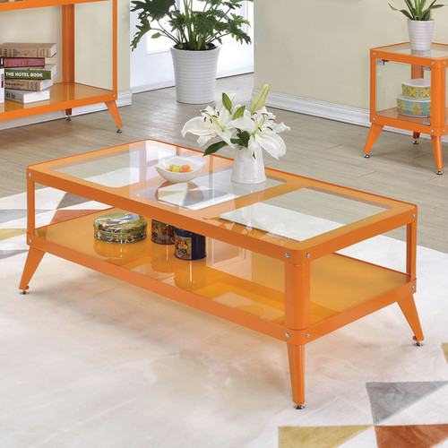 Furniture of America Linden Modern Glass Top Metal Coffee Table [option : Silver]