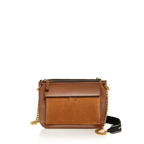 MARNI Bandoleer Color Block Leather And Suede Shoulder Bag