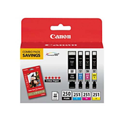 Canon PGI-250BK/CLI-251CMY Black/Color Ink Cartridges & PP-201 Paper Combo Pack