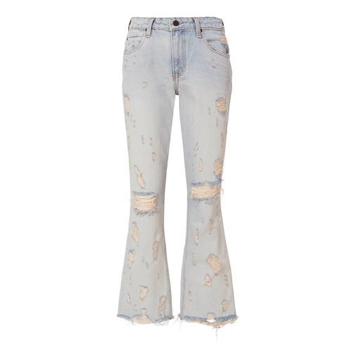 ALEXANDER WANG Grind Destroyed Crop Flare Jeans