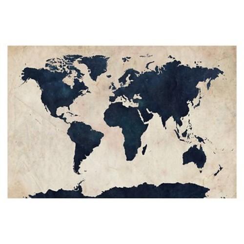 Trademark Global Michael Tompsett 'World Map - Navy' Canvas Art [Overall Dimensions : 30x47]