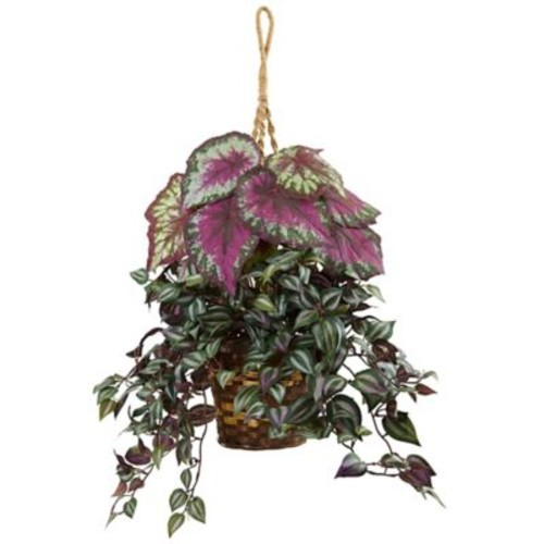 Red Barrel Studio Silk Wandering Jew and Begonia Hanging Plant in Basket
