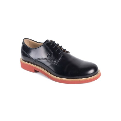 Tod's Mens Black Leather Polished Lace Up Derby Shoes