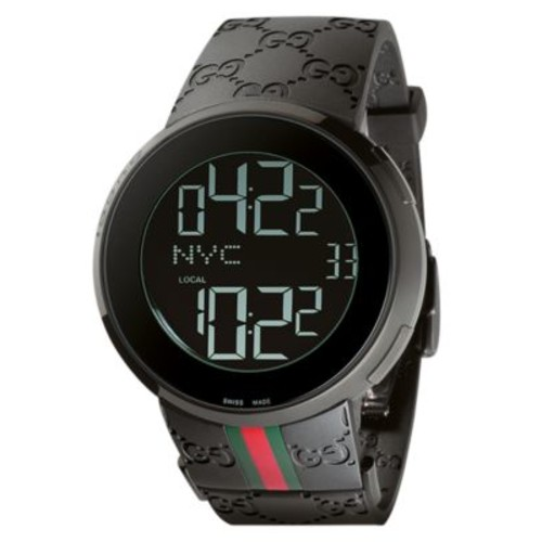 GUCCI Unisex I- Collection Black Rubber Strap Watch 44Mm Ya114207