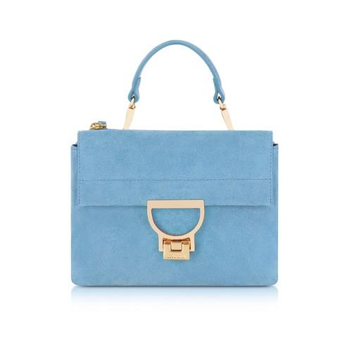 Sky Blue Suede Arlettis Mini Bag w/Shoulder Strap