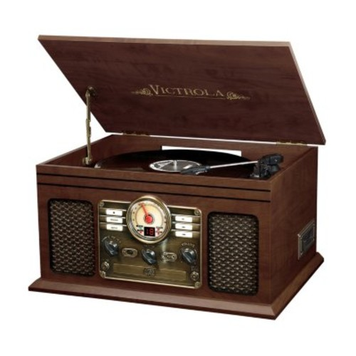 Victrola Wooden 6-in-1 Nostalgic Record Player with Bluetooth and 3 Speed Turntable