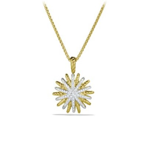 Staburst Small Pendant with Diamonds in Gold on Chain