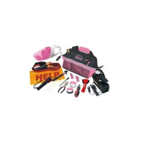 APOLLO TOOLS 54 PIECE ROADSIDE TOOL KIT w/VAC & COMP - PINK - DT0515P